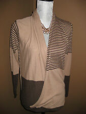 Max Studio Sweater Brown Open Striped Faux Wrap Cocoon Size XSmall XS