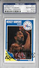 HERSEY HAWKINS Signed 1989 FLEER Philadelphia 76ers CARD #117 BRADLEY Braves PSA