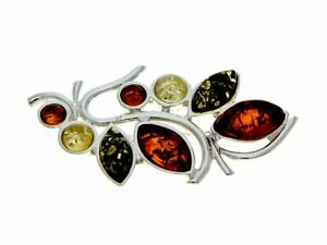 Modern design Baltic Amber Brooch