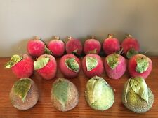 Faux Sugared Fruit / Pears, Apples, Pomegranates / Lot Of 16 / Beaded / Vguc