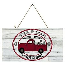 Red Truck Vintage Farm Girl  Printed Handmade  Wood Sign