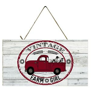 Red Truck Vintage Farm Girl  Printed Handmade  Wood Sign