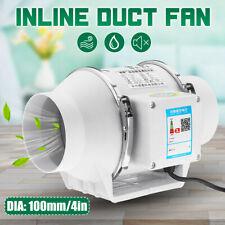 """4"""" In-Line Duct Fan Mixed Flow Blower Hydroponic Ventilation Waterproof Scilent"""