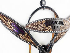 PURPLE COWGIRL UP LEATHER HEADSTALL WESTERN SHOW HORSE TRAIL BRIDLE BREASTCOLLAR