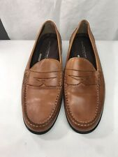Rockport Mens Walkability Cognac Leather Penny Loafers 8.5 Wide