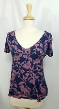 Heritage 1981 Women's Top Blue Navy Floral Shirt S/S Blouse sz Large L T2