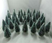 10pc Mini Sisal Bottle Brush CHRISTMAS TREES Snow Frost Village Putz 10cm Hot JS