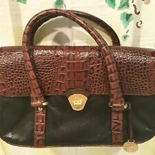Brahmin Croc Leather Collection Black Brown Double Strap Pocketbook Dust Bag