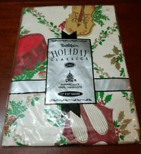 "NIP Vinyl Flannel Backed Christmas Music Holiday Classics Table Cloth 52""x52"""