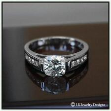0.75 Ct Forever One Ghi Moissanite Cushion Tension & Channel Engagement Ring
