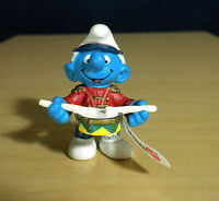 Smurfs 20493 Snare Drum Smurf Marching Band Drummer Figure Vintage Toy Schleich
