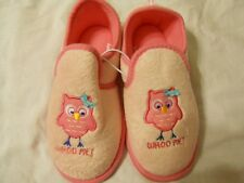 Girls Slippers Shoes Sz S (11-12) Pink Whoo Me? Owl NEW Children