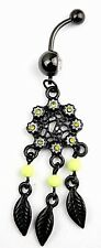 Black Web Feather Dream Catcher Belly Navel Bar Ring Dangle Charm Floral Daisy
