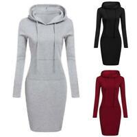 Fashion Winter Pocket Long Sweatshirt Women Hooded Casual Sleeve Jumper Dress