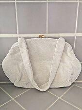 Vtg. Josef Hand Beaded Handbag White Seed beads ,White Satin Linging -FRANCE