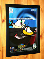 2001 Sonic Adventure 2 Sega GameCube Dreamcast Rare Small Poster Ad Page Framed