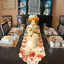 Embroidered Autumn Leaf  Table Runner Thanksgiving & Harvest Tableware Cover