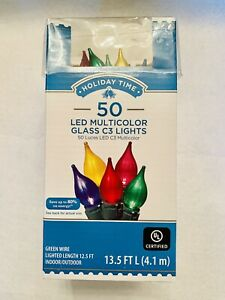 New! Holiday Time 50 Count LED Multicolor Iradescent   Glass C3 Lights Free Ship