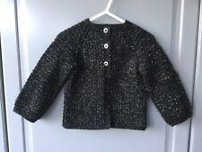 Handmade knitted baby girl black/golden seamless long sleeved cardigan 12-18mths