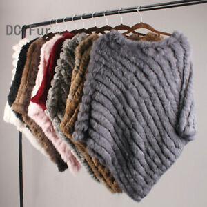 spring autumn Genuine Real Knitted Rabbit Fur Poncho Wrap natural rabbit scarves