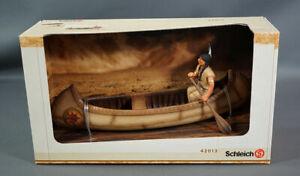 Schleich #42013 Wild West Sioux Indian w Canoe Native American Figurine Retired