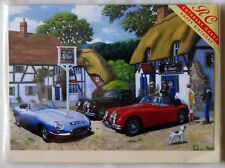 THE JAGUAR CLUB - Classic Jaguars outside a country pub - Happy Birthday Card