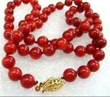 AA 8mm Red Sea Coral Round Beads Necklace 18""