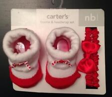 NEWBORN BABY GIRL CARTER'S BOOTIE & HEADWRAP SET Red & White