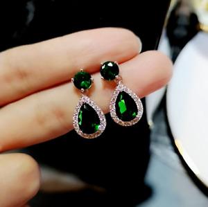 4 Ct Pear Cut Green Emerald Halo Drop & Dangle Earrings 14K White Gold Finish
