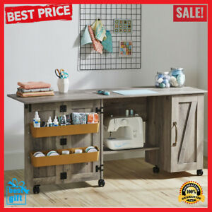 Wood Sewing Machine Cabinet Craft Table Organizer With Wheels Farmhouse Storage