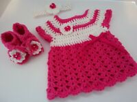 Crocheted baby girl outfit, dress, headband and booties newborn