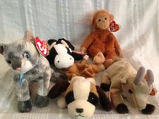 5 TY BEANIE BABIES Bongo Frisco Goatee Daisy & Bernie Dog Cat Cow Goat Monkey