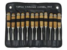 Beginners Wood Carving Hand Chisel Tool Set 12pc Woodworking Gouge Skew Chisels