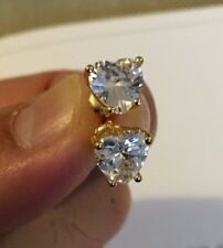 1 Ct Created Diamond Solid 14k Yellow Gold Basket Round Solitaire Earrings Studs