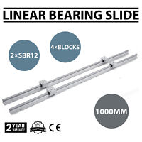 2xSBR12-1000mm Linear Rail Slide Guide Rod+4SBR12UU Block Set Aluminium Bearing