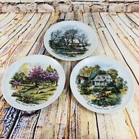 Currier and Ives 3 Seasons Collector Plates 6 1/2 Inch Diameter