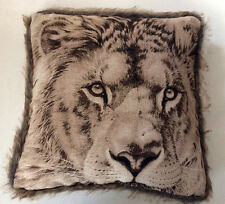 DELUXE LION FACE FUR TRIM ANIMAL PRINT CUSHION COVER HOME DECOR LOUNGE BED