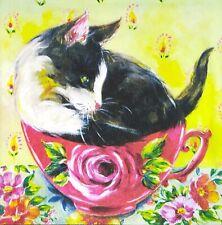 3 x Single Paper Napkins For Decoupage Teapot Tea Cup Cupcake Flowers Roses M264