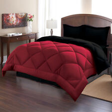 Comforter Set King Size Burgundy Black Reversible Bed in a Bag Bedding 3 Pieces
