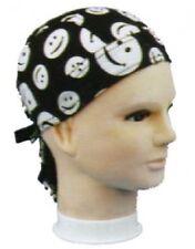 Black White Smiley Faces Have A Nice Day Doo Rag Biker Durag Headwrap Bandanna