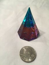 Vintage Crystal Pyramid Shaped Paperweight