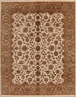 8x10 Floral Hand-Knotted Ivory Agra Oriental Area Rug Wool Living Room Carpet
