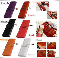 Sale  Vintage Roll Leather Make Up Cosmetic Pen Pencil Case Pouch Purse Bag