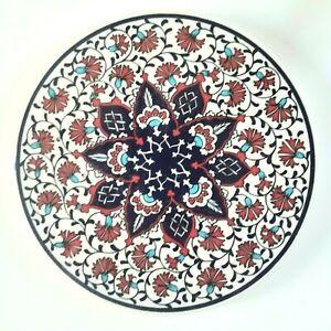 Trivet Turkish Handmade Ceramic Kitchen Hot Plate Blue Red Flower NEW