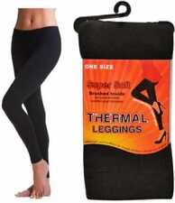 Ladies Super Soft Thermal Winter Brushed Black Leggings Size S-XXL