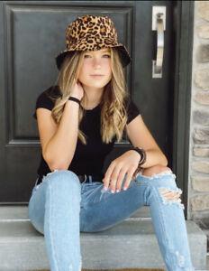 Leopard Print (Brown) Reversible to Black Bucket Hat Animal Print Teen Women
