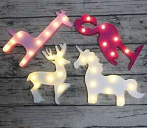 Unicorn Flamingo Reindeer Giraffe Night Light Lamp Kids LED 3D Soft Light Decor
