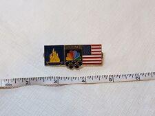 Games of the XXV Olympiad Barcelona '92 RARE NBC NEWS pin torch Olympics Flag