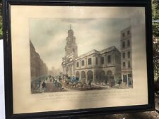 RARE 18TH CENTURY Print HAND COLORED View of the outside of the royal exchange.