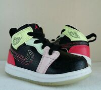 wow AIR JORDAN 1 MID SE RETRO Glow-In-Dark BABY Sz 5c Black PINK Green RED White